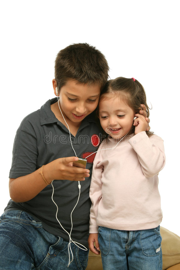 Download Children Enjoying A Mp4 Player Stock Photo - Image: 2139780