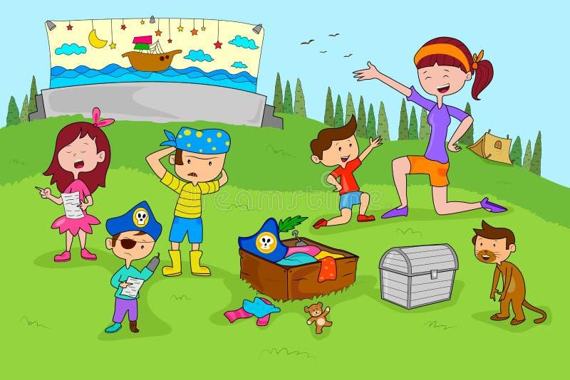 Картинка дети в лагере занимаются нарисованная