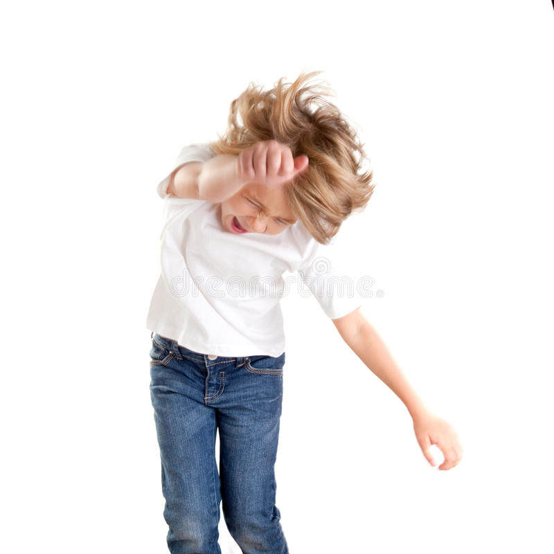 Children excited kid epression with winner gesture stock photography