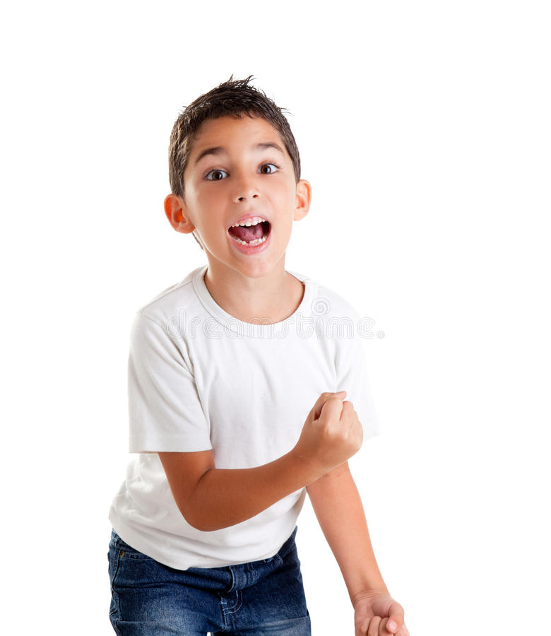 Children excited kid epression with winner gesture royalty free stock photos