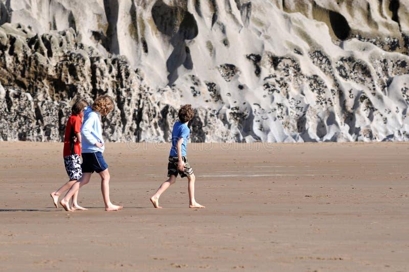 Children exploring beach royalty free stock photos