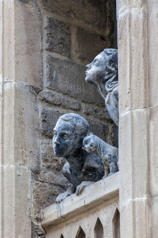 Children facade sculpture stock image