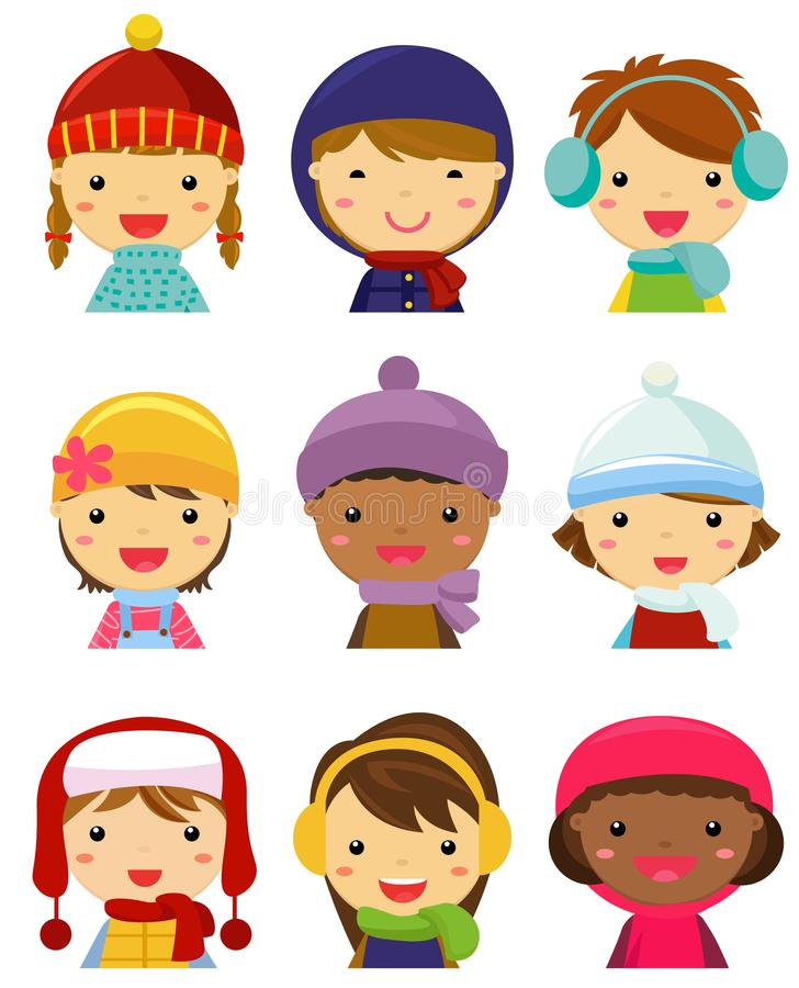 Children face collection, winter clothes vector illustration