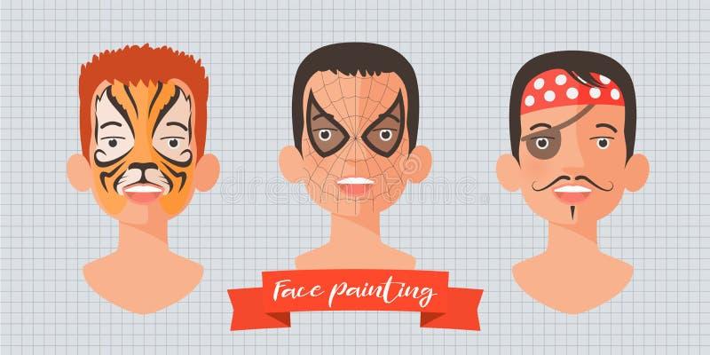Children face painting set of vector illustrations stock illustration