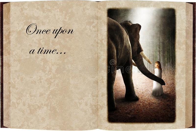 Children, Fairytale, Storybook, Reading, Isolated. A young girl makes friends with an elephant in the deep, dark woods or forest. The child is in a fairytale stock image
