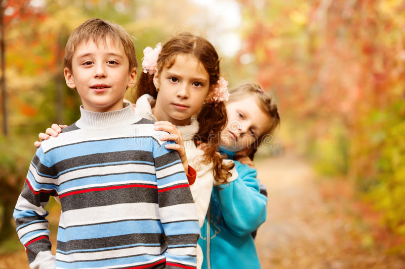 Children  In Fall Stock Photography