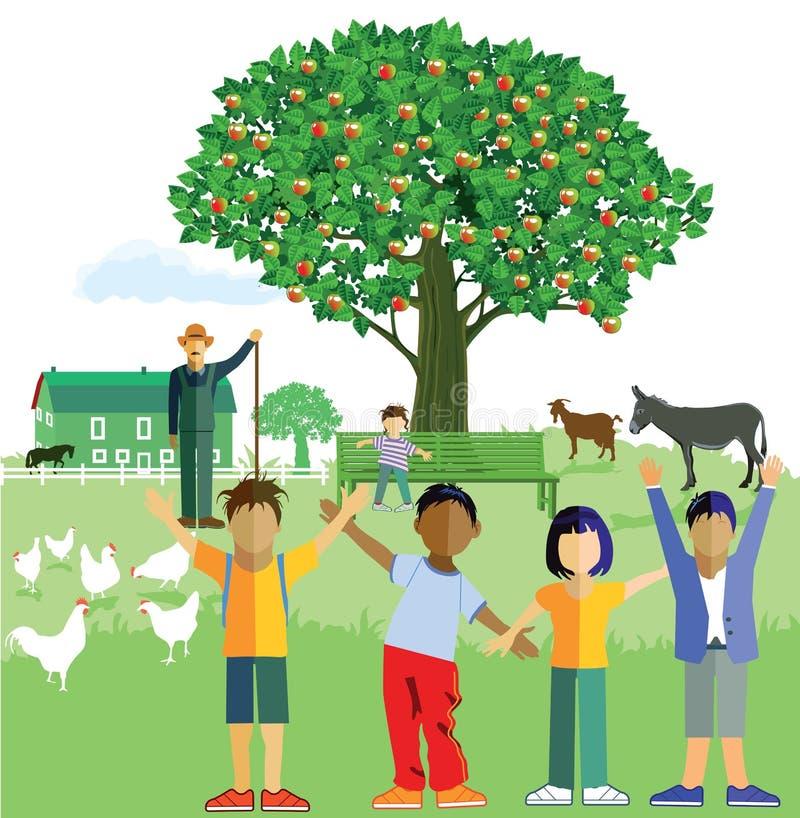 Children on the farm stock illustration