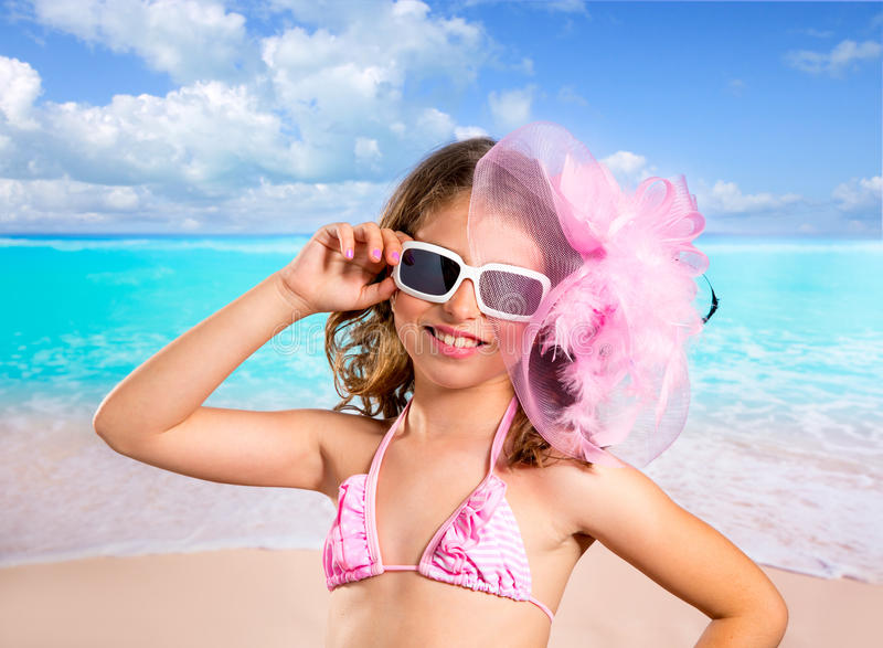 Download Children Fashion Girl In Tropical Turquoise Beach Vacations Stock Photo - Image: 32316594