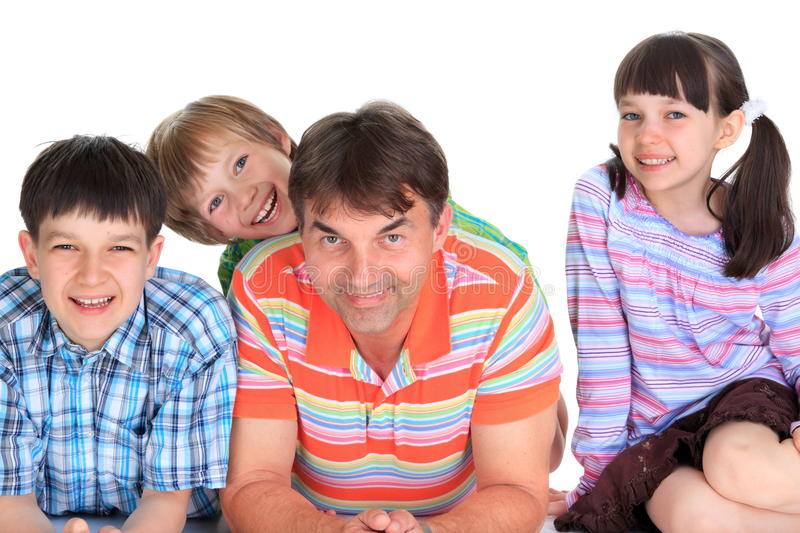 Children with father stock photo