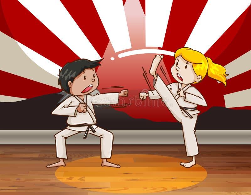Children fighting martial arts vector illustration
