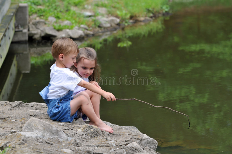 Children Fishing royalty free stock photography