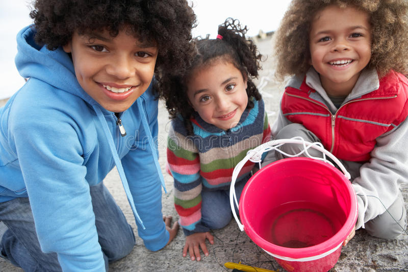 Children Fishing For Crabs Royalty Free Stock Images