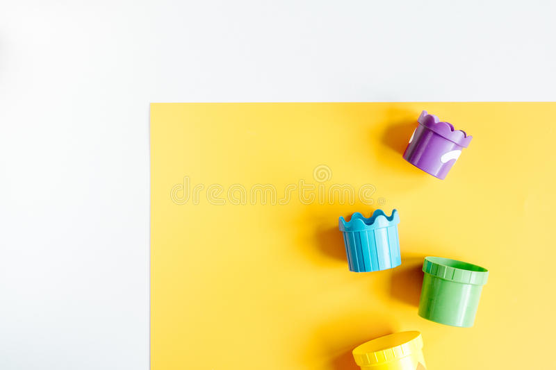 Children flat lay with toys colorful background top view space for text stock photos