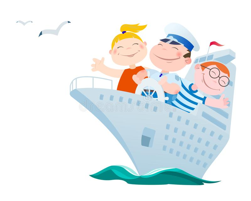 Children float by the ocean liner. Cartoon funny children float by the ocean liner vector illustration royalty free illustration