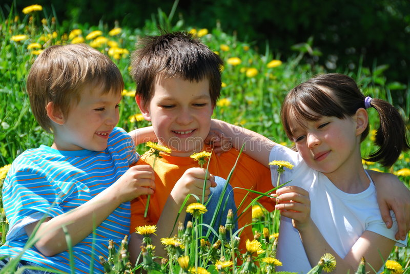 Children in flower meadow royalty free stock image
