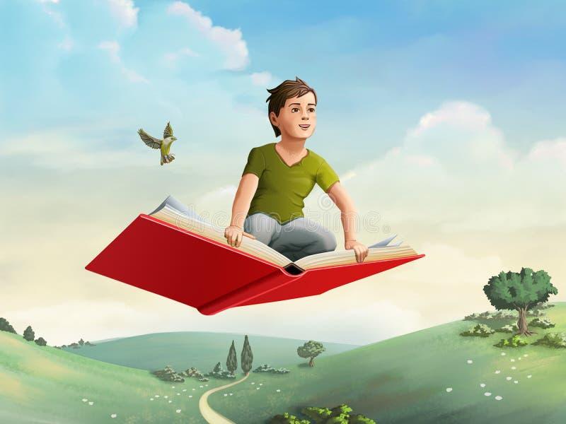 Children flying on a book. Children flying on an open book through a rural landscape. Digital illustration royalty free illustration