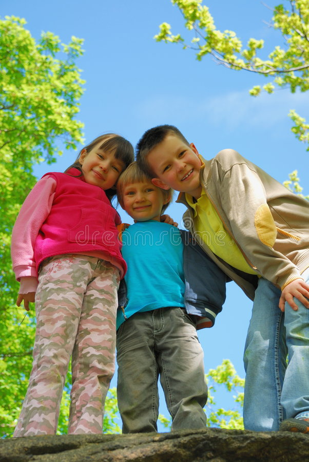 children in forest royalty free stock images