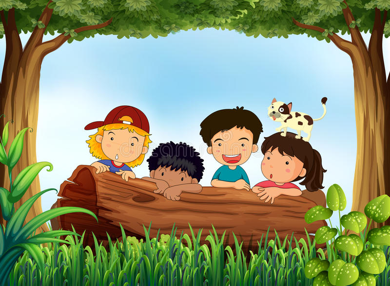 Children and forest royalty free illustration