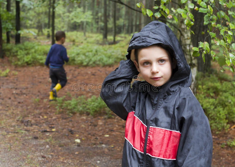 Children in forest stock images