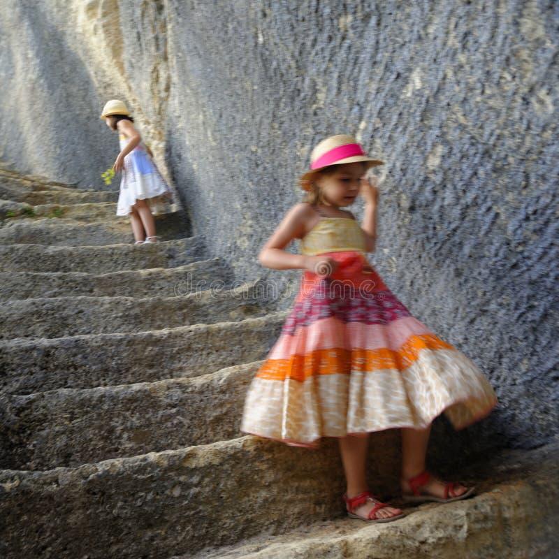 Children in Fort de Buoux stock photo