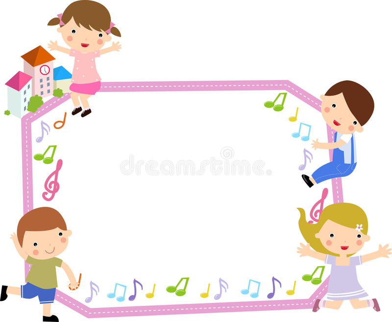Children and frame. Illustration art royalty free illustration