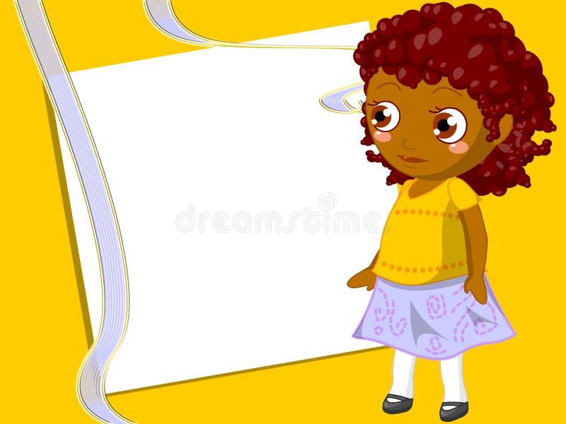 Children frame. Frame illustrated with happy black girl stock illustration