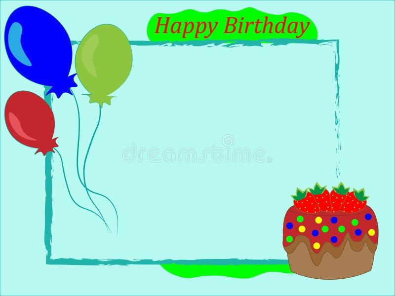 Children frame happy birthday greeting. Greeting children frame for photos vector illustration