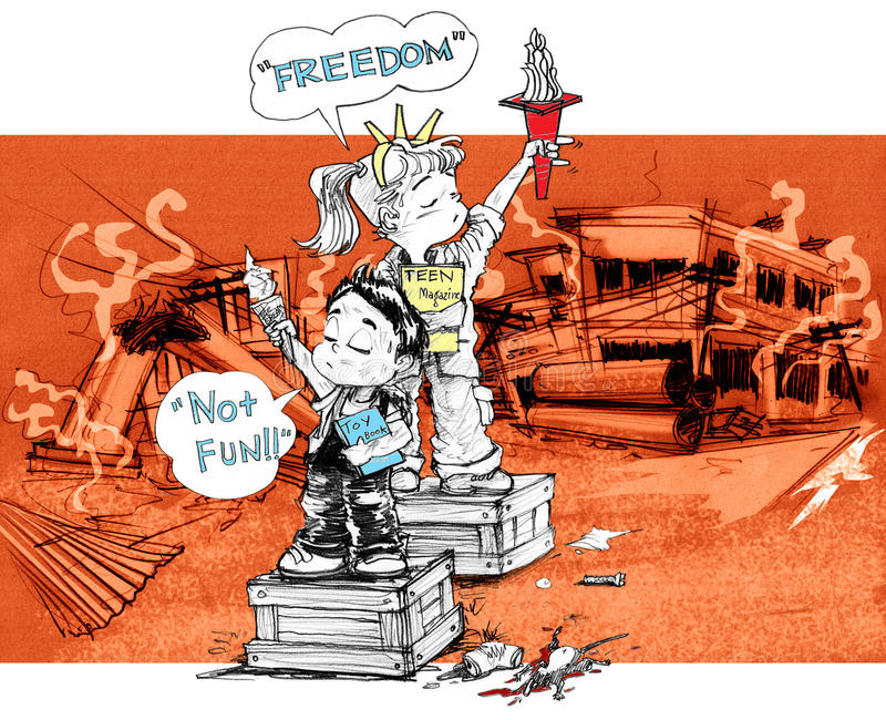 Children freedom acting symbol after war. Cartoon character design survivors children sister and brother acting freedom symbol and say not fun, After the city is royalty free illustration