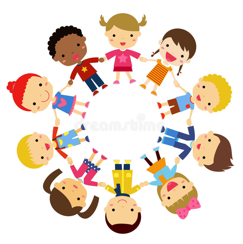 Children friends from around the world of various ethnic groups in circle. Illustration children friends from around the world of various ethnic groups in circle royalty free illustration