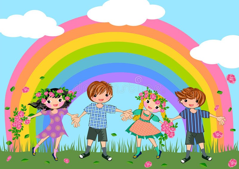 Children friendship stock illustration