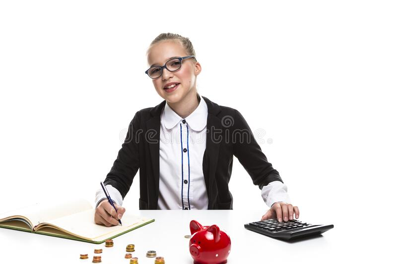 Children Frugal Concepts. Portrait of Happy Blond Teenage Girl With Coins and Moneybox. Calculating Money With Calculator For. Children Frugal Concepts. Portrait stock images