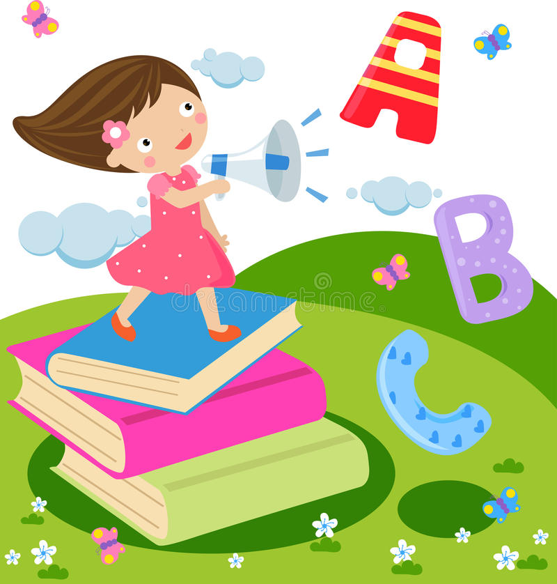 Children and fun english vector illustration