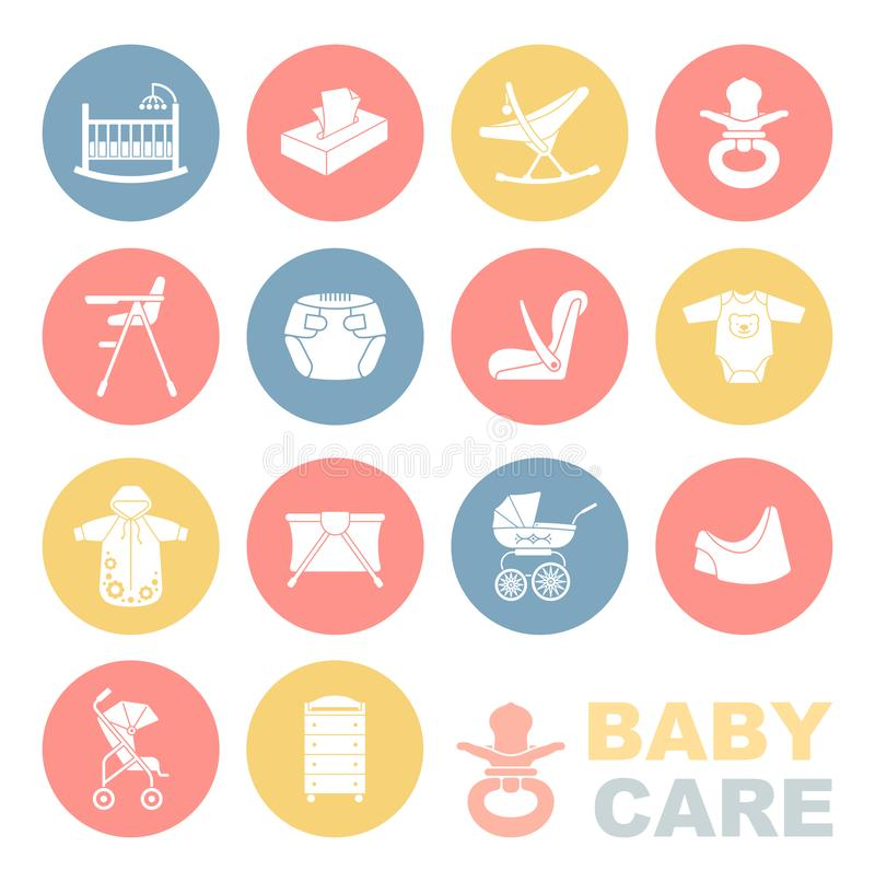 The care of the child.The icons set. stock illustration