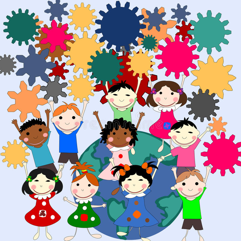 Children -future minds in the world, the concept of children. Of different races with gears in hands royalty free illustration