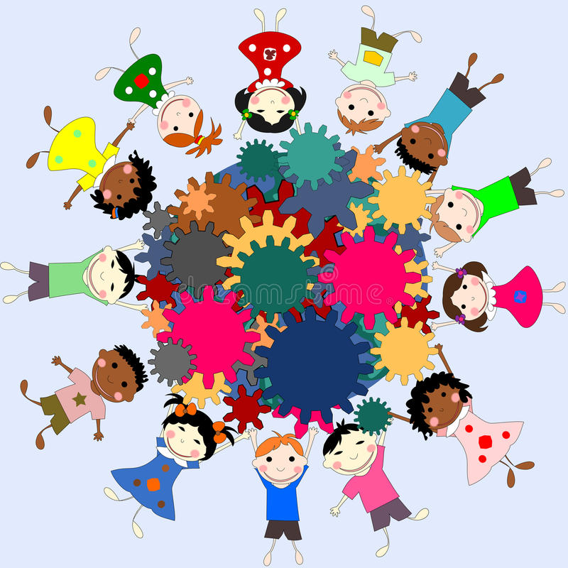 Children -future minds in the world, the concept of children. Of different races with gears in hands stock illustration