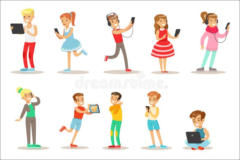 Children And Gadgets Set Of Illustrations With Kids Watching, Listening And Playing Using Electronic Devices. Teenager Technology Addicts Collection Of Cartoon royalty free illustration