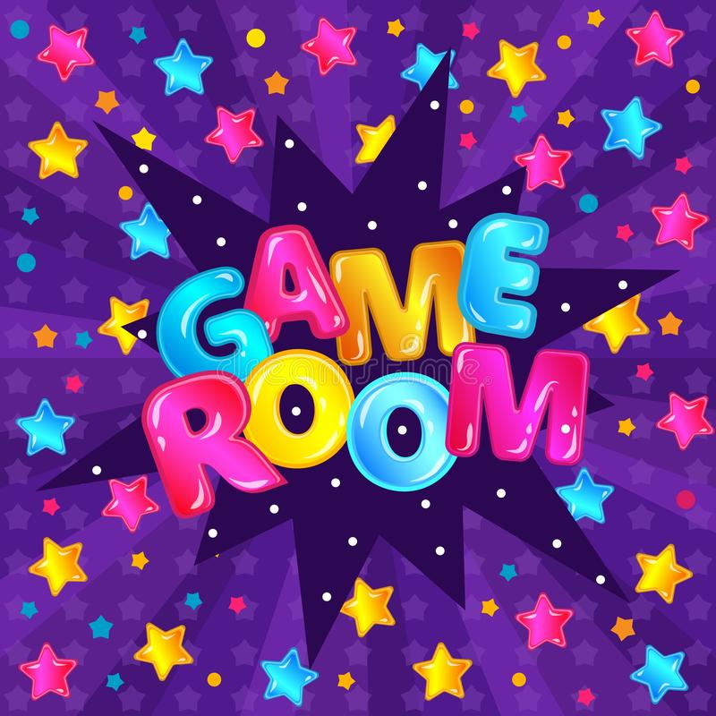 Children game room`s banner cartoon vector illustration on colorful background. royalty free illustration