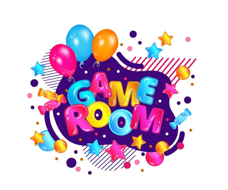 Children game room sign with festive balloons and confetti, kids activity park play zone banner with fun decorations vector illustration