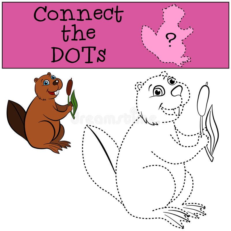 Children Games: Connect the Dots. Little cute beaver. stock illustration