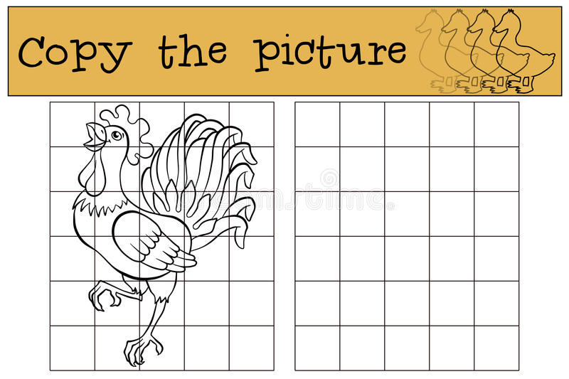 Children games: Copy the picture. Beautiful cute rooster. stock illustration