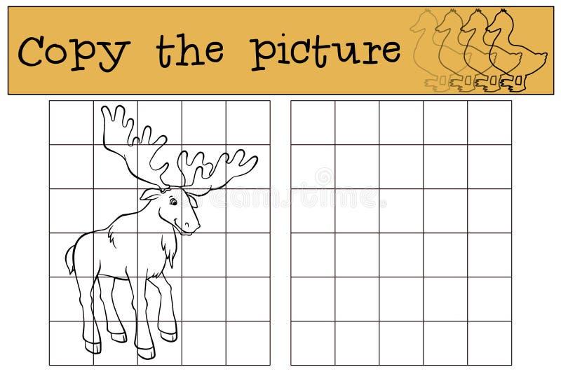 Children games: Copy the picture. Cute kind elk. vector illustration
