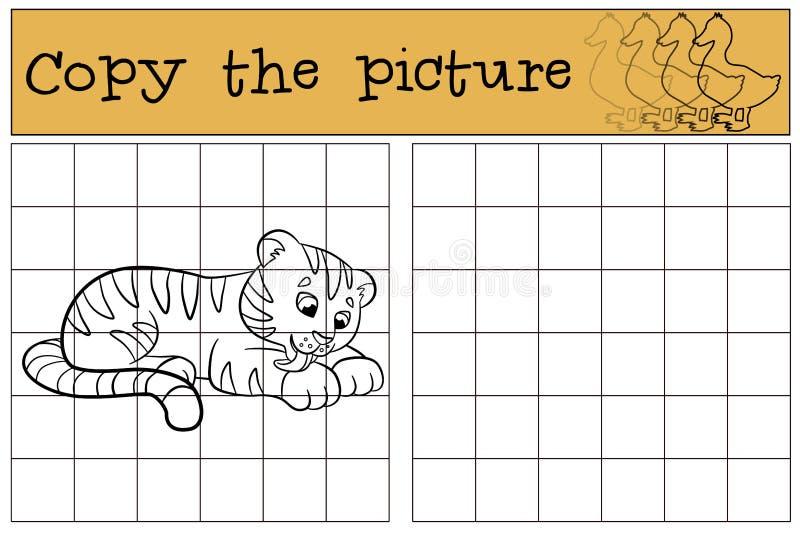 Children games: Copy the picture. Little cute baby tiger smiles. Children games: Copy the picture. Little cute baby tiger lays and smiles vector illustration