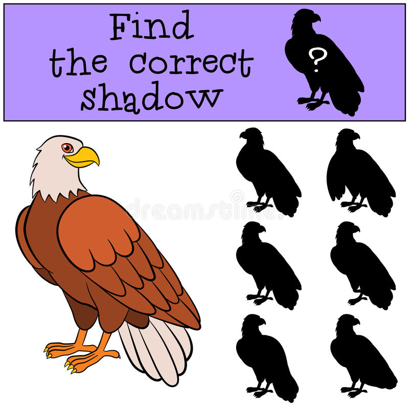Children games: Find the correct shadow. Cute bald eagle smiles. Children games: Find the correct shadow. Cute bald eagle sits and smiles stock illustration