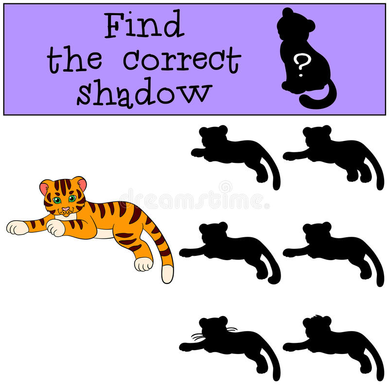 Children games: Find the correct shadow. Cute little baby tiger. Lays and smiles royalty free illustration