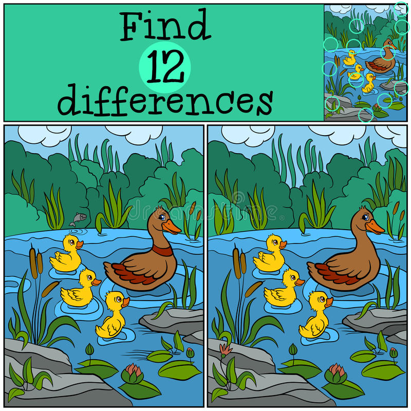 Free Children Games: Find Differences. Duck And Ducklings. Royalty Free Stock Photo - 71211785