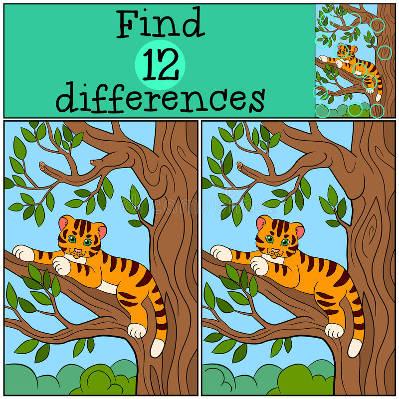 Children games: Find differences. Little cute baby tiger lays in the tree branch. Children games: Find differences. Little cute baby tiger lays in the tree vector illustration