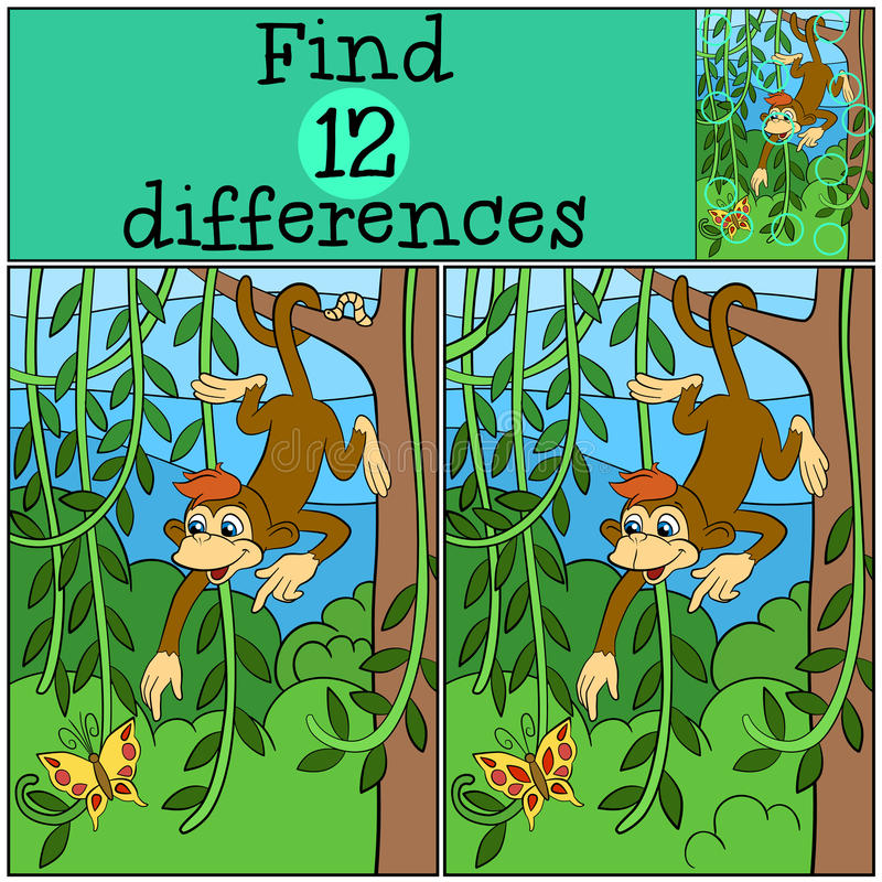 Free Children Games: Find Differences. Little Cute Monkey. Stock Photography - 71212032
