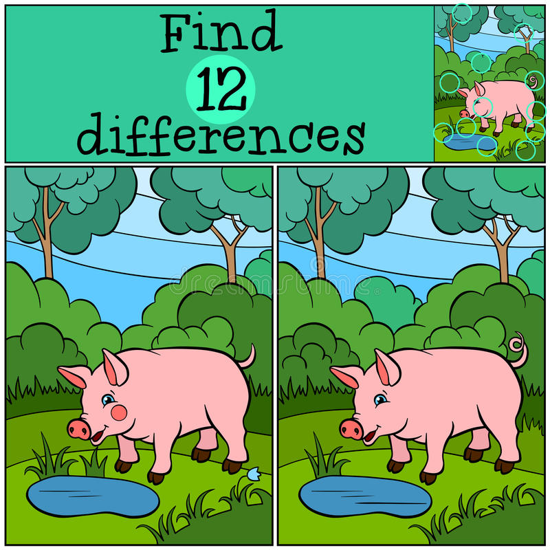 Free Children Games: Find Differences. Little Cute Pig. Royalty Free Stock Photo - 71212535