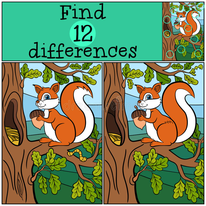 Free Children Games: Find Differences. Little Cute Squirrel. Royalty Free Stock Photography - 71212367