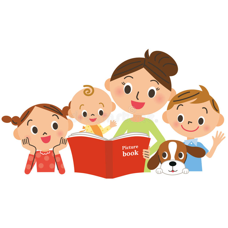 Children gathering for mother reading a picture book vector illustration